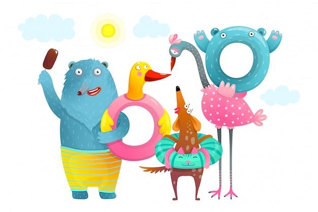 동물 곰 플라밍고 개 여름 풍선 해변 휴가. 여름 휴가 수영 도넛과 함께 재미있는 동물.