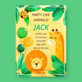 동물 생일 손으로 그린 수채화 동물 생일 초대장 템플릿