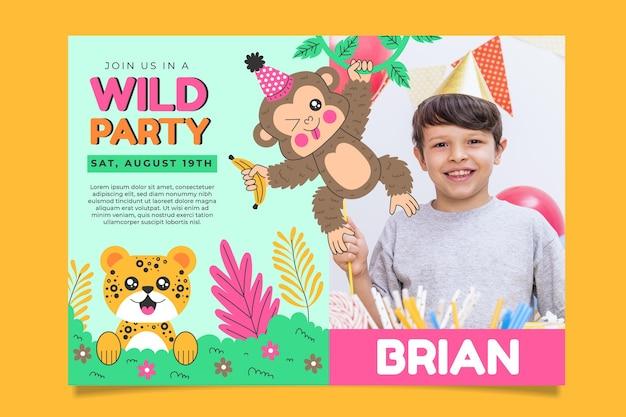 사진과 함께 동물 생일 초대장 서식 파일