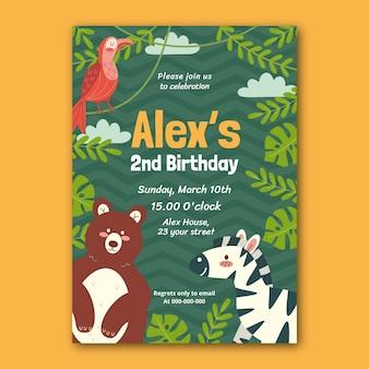 Animals birthday invitation template