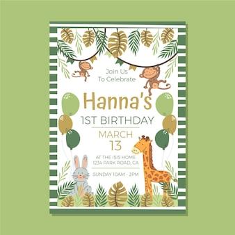 Modello di invito di compleanno di animali animals