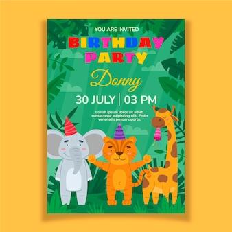 動物の誕生日の招待状のテンプレート