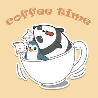 Animals in cap of coffee. coffee time