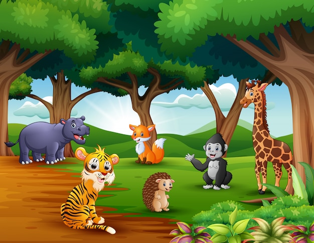 Animals cartoon are enjoying nature in the jungle