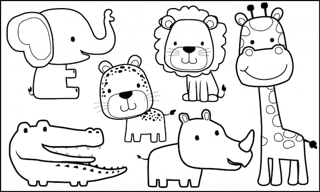 Animals cartoon for coloring book