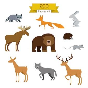 動物漫画のフラットなデザインイラストセット。