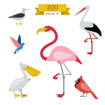 Animals cartoon flat design illustrations set.