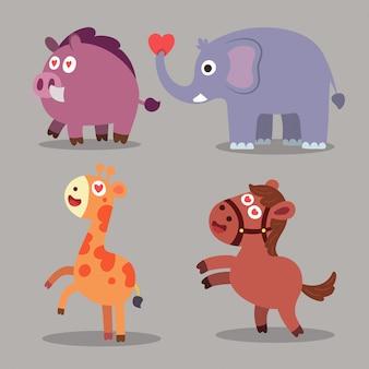 Animals cartoon icons