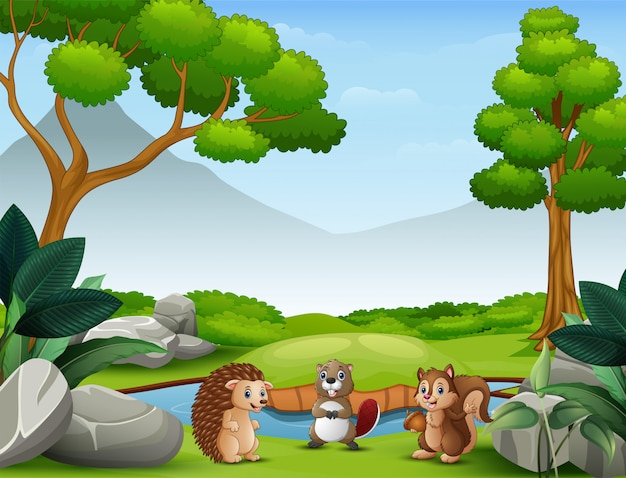 Animals cartoon living in the wild nature