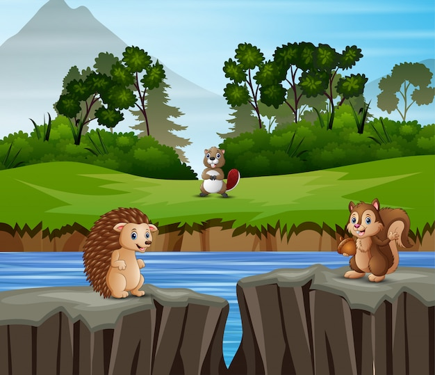 Animals cartoon playing in the nature background