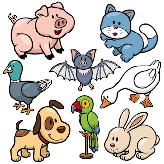 Animals cartoon set