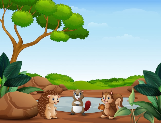Animals cartoon standing near the small pond