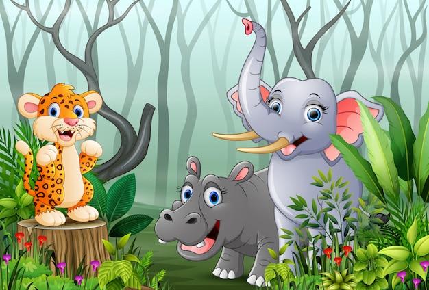 안개 속에서 숲을 볼 수있는 동물 만화