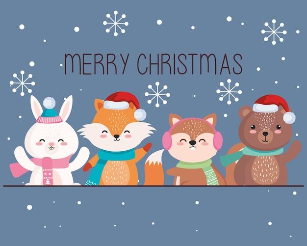 Мультяшные животные в счастливом рождественском сезоне, дизайн, зима и украшение темы
