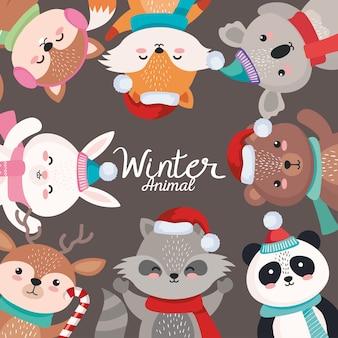 메리 크리스마스 시즌 디자인, 겨울 및 장식 테마 그림에서 동물 만화