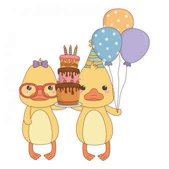 Animals cartoons with happy birthday cake
