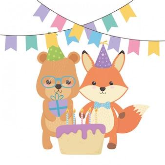 Animals cartoons with happy birthday