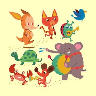 Персонаж животных играет на музыкальных инструментах дизайн