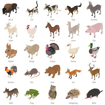 동물 컬렉션 아이콘을 설정합니다. 웹에 대 한 25 동물 컬렉션 벡터 아이콘의 아이소 메트릭 그림