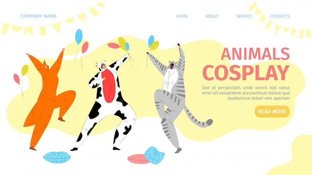 동물 코스프레 상륙 일러스트. 화려한 짐승 의상을 입은 사람들은 소, 고양이 및 매력적인 여우를 묘사합니다. 좋아하는 만화 어린이의 귀여운 컬렉션 캐릭터.