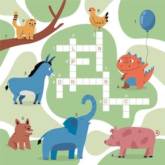 英語の単語と動物のクロスワード