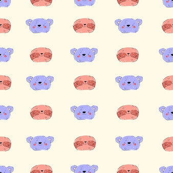 Animals in cute cartoon style pattern hand drawn with bear and sloth