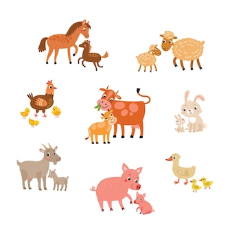 Animals cute with kids vector illustration