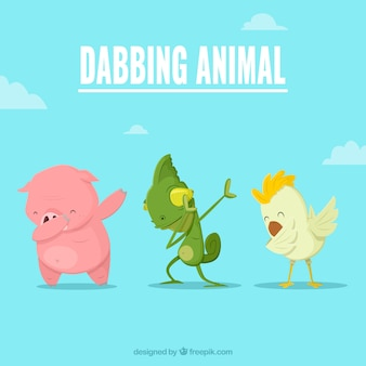 Animals doing dabbing movement