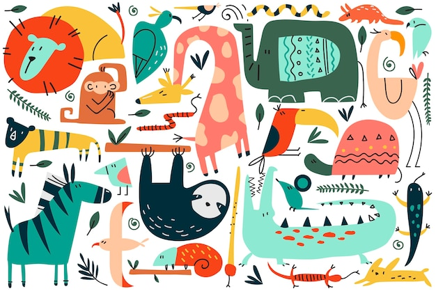 동물 낙서 세트. 재미있는 다채로운 만화 캐릭터 귀여운 야생 아프리카 사파리 포유류의 컬렉션입니다. 스칸디나비아 스타일의 아이들을위한 표범 사자 뱀 원숭이 얼룩말 기린 코끼리의 그림.