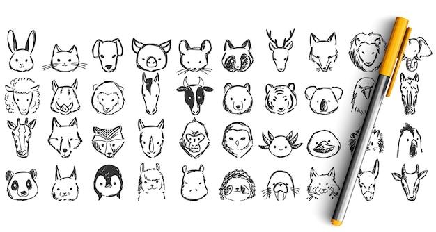 동물 낙서 세트. 연필 펜 ikn 손으로 그린 된 스케치의 컬렉션입니다. 코끼리 원숭이 고양이 개 사자 말 닭 총구.