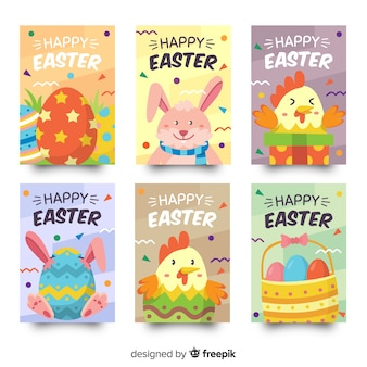 Animals easter card collection