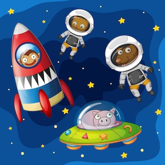 Animals exploring the space