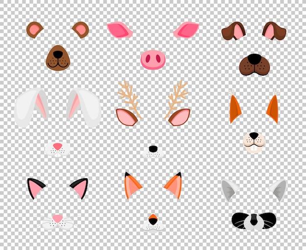 Животные маски для лица установлены на прозрачный