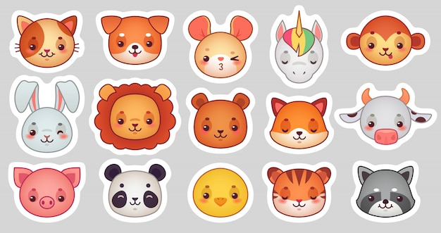 Animals face stickers