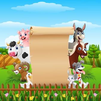 空の標識と動物の農場の漫画はロールアップ
