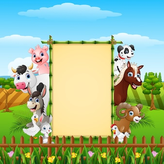 Animals farm with blank sign at hills