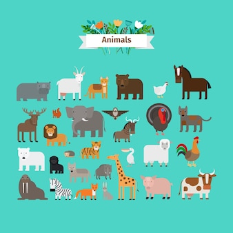 Animals flat design vector icons