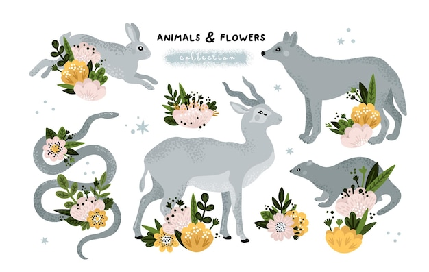Animals and flowers collection hare snake antelope ferret wolf
