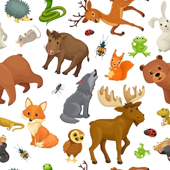 Animals of forest. seamless pattern.