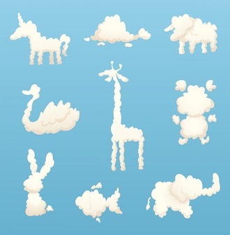 Animals from clouds. various shapes of cartoon clouds