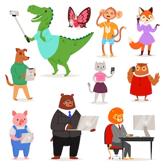 Animals gadget  animalistic cartoon character bear cat or dog holding phone or camera for selfie photo illustration