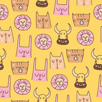 子供たちのデザインのための動物の手描きのかわいいスタイルのシームレスなパターン