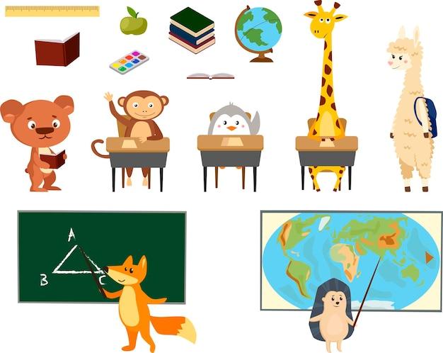 Стиль рисованной животных, тема образования. симпатичные персонажи. медведь, пингвин, лама, обезьяна, лиса, жираф и ёжик. векторная иллюстрация.