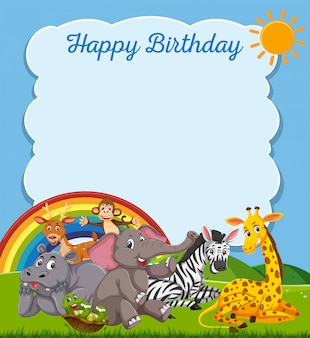 Animals happy birthday card template