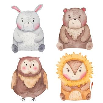 Животные заяц, сова, медведь, лев акварель иллюстрации