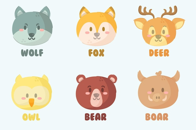 Набор иллюстраций головы животных