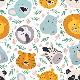 동물 머리 원활한 패턴 귀여운 사자 호랑이 얼룩말 코알라와 hipp 나무 늘보와 표범 얼굴