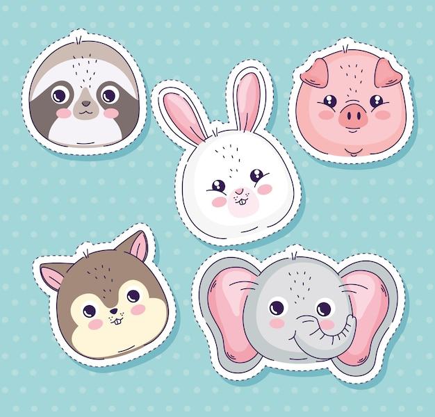Animals heads sticker collection