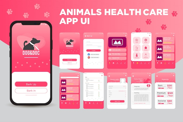 Animals health care app ui kit template