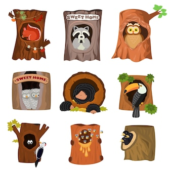 Animals in hollow vector animalistic character in tree hollowed hole illustration